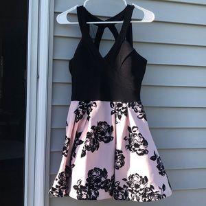 Pink & Black Floral Short Prom/Homecoming Dress